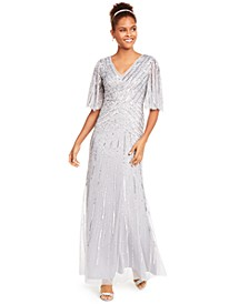 Sequined Flutter-Sleeve Trumpet Gown