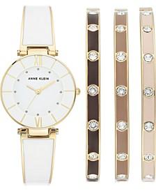 Women's Gold-Tone & White Enamel Bangle Bracelet Watch 30mm Gift Set