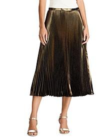Petite Pleated Metallic Skirt