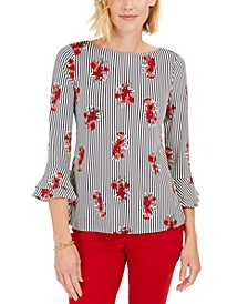 Printed Ruffled-Sleeve Top, Created For Macy's