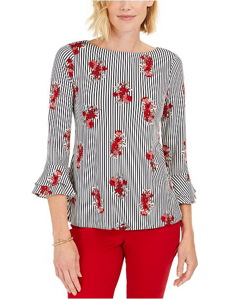 Charter Club Petite Floral-Striped Ruffled-Sleeve Top, Created for Macy's