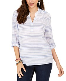 Striped Split-Neck Top, Created for Macy's