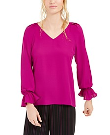 Pleated Bell-Sleeve Top, Created For Macy's