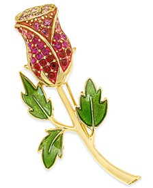Gold-Tone Crystal Red Rose Pin, Created For Macy's