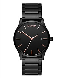 Men's Classic Black Rose Black Stainless Steel Bracelet Watch 45mm