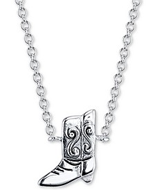 "Cowboy Boot Pendant Necklace in Sterling Silver, 16"" + 2"" extender"