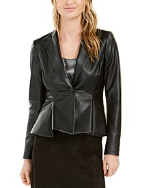Faux-Leather Peplum Jacket, Created For Macy's