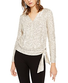 INC Petite Sequin Surplice Top, Created For Macy's