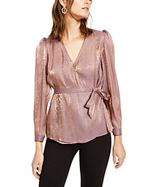 INC Petite Metallic Snake-Print Wrap Top, Created For Macy's