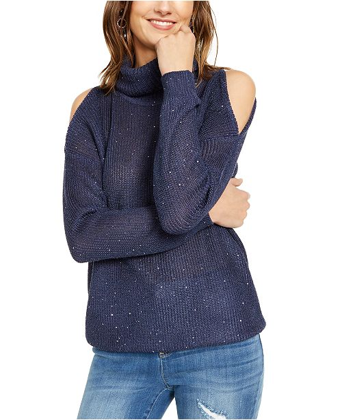 INC International Concepts INC Sequin Cutout Turtleneck Sweater, Created For Macy's