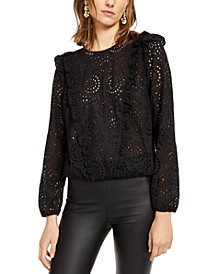 INC Ruffled Eyelet Top, Created for Macy's