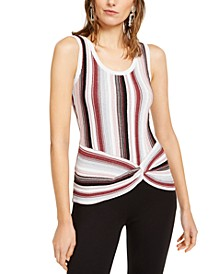 INC Striped Twist-Front Sweater, Created For Macy's