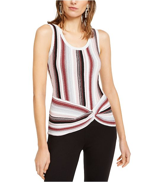 INC International Concepts INC Striped Twist-Front Sweater, Created For Macy's