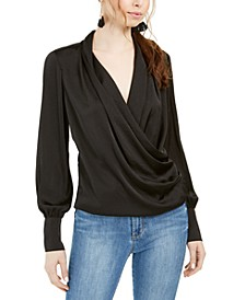 Draped Long-Sleeve Button-Cuff Top