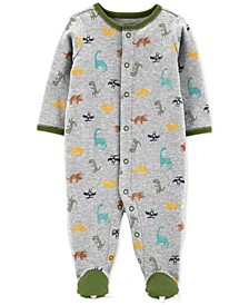 Baby Boys Dinosaur-Print Cotton Footed Coverall
