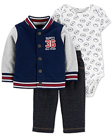 Baby Boys 3-Pc. Cotton Varsity Jacket, Football-Print Bodysuit & Denim Pants Set