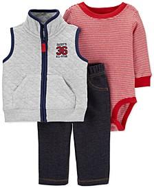 Baby Boys 3-Pc. Quilted Vest, Bodysuit & Pants Set