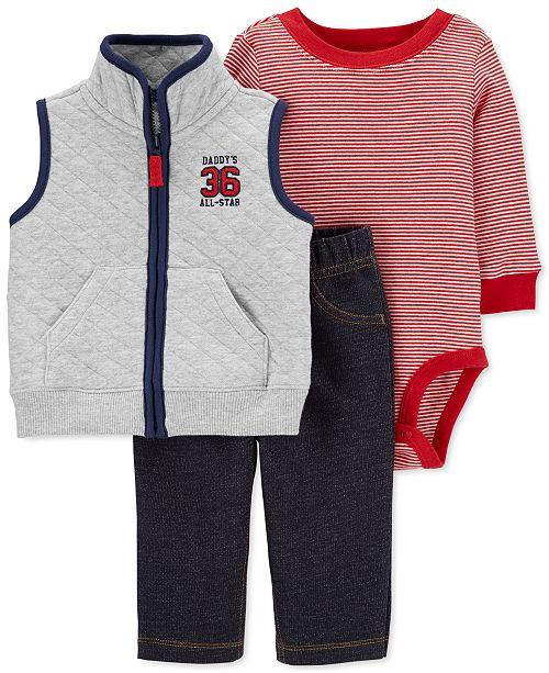 Carter's Baby Boys 3-Pc. Quilted Vest, Bodysuit & Pants Set