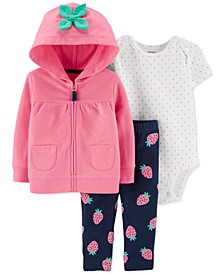 Baby Girls 3-Pc. Zip-Up Hoodie, Dot-Print Bodysuit & Strawberry-Print Pants Set