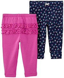 Baby Girls 2-Pk. Cotton Pull-On Pants