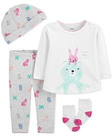 Baby Girls 4-Pc. Cotton Hat, Bear Top & Pants & Socks Set