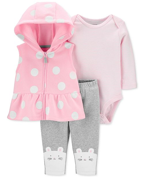 Carter's Baby Girls 3-Pc. Hooded Vest, Striped Bodysuit & Mouse Pants Set