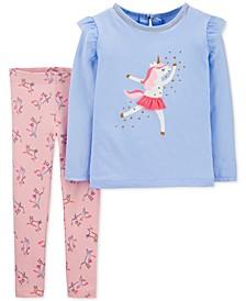 Baby Girls 2-Pc. Dancing Unicorn Top & Unicorn-Print Leggings Set