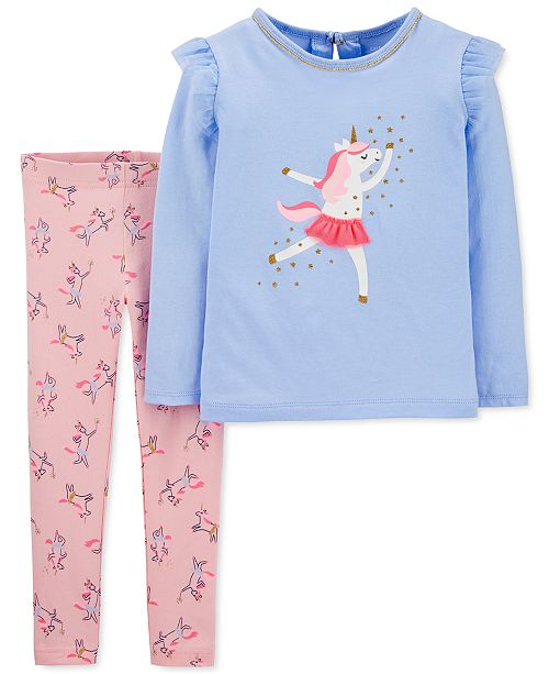 Carter's Baby Girls 2-Pc. Dancing Unicorn Top & Unicorn-Print Leggings Set