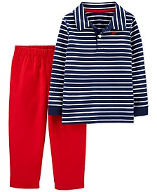 Baby Boys 2-Pc. Cotton Striped Polo Shirt & Canvas Pants Set