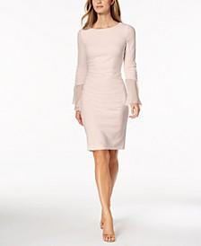 Petite Chiffon Bell-Sleeve Sheath Dress