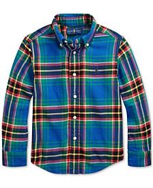 Toddler Boys Plaid Cotton Twill Shirt