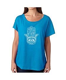 Women's Dolman Cut Word Art Shirt - Hamsa