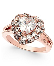 Rose Gold-Tone Crystal Heart Halo Ring, Created for Macy's