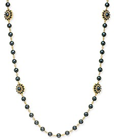 "Gold-Tone Crystal & Imitation Pearl Burst Strand Necklace, 42"" + 2"" extender, Created For Macy's"