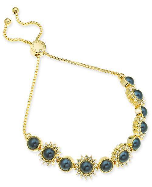 Charter Club Gold-Tone Crystal & Imitation Pearl Burst Slider Bracelet, Created For Macy's
