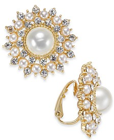 Gold-Tone Crystal & Imitation Pearl Burst Clip-On Stud Earrings, Created For Macy's