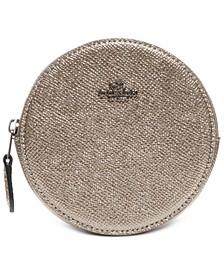Metallic Leather Round Coin Case