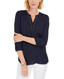 Petite Beaded-Neck Pleated-Back Top, Created For Macy's