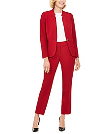 Petite Star-Collar Pants Suit