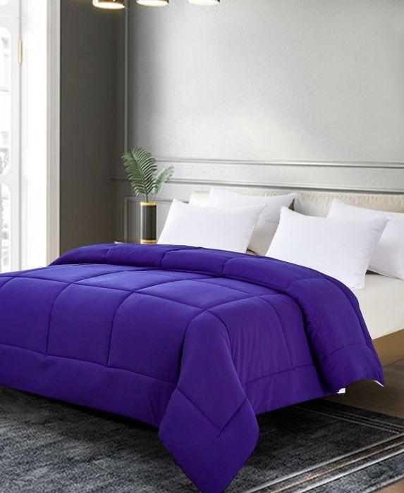 Full/Queen Reversible Microfiber Down Alternative Comforter Purple/Violet - Blue Ridge Home Fashions