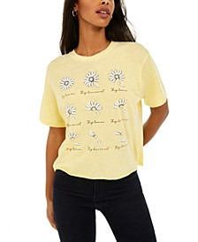 Juniors' Daisy Cropped Graphic T-Shirt