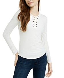 Juniors' Lace-Up Ribbed Top