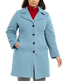 Plus Size Single-Breasted Wool Coat, Created for Macy's