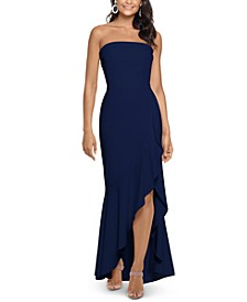 Ruffled Strapless Gown