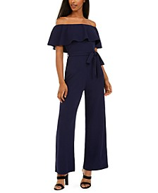 Juniors' Off-The-Shoulder Popover Jumpsuit
