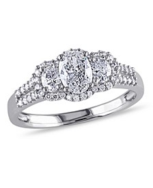 Oval-Cut Certified Diamond (1 ct. t.w.) 3-Stone Engagement Ring in 14k White Gold
