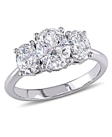 Oval Cut Certified Diamond (1 1/2 ct. t.w.) 3-Stone Engagement Ring in 18k White Gold