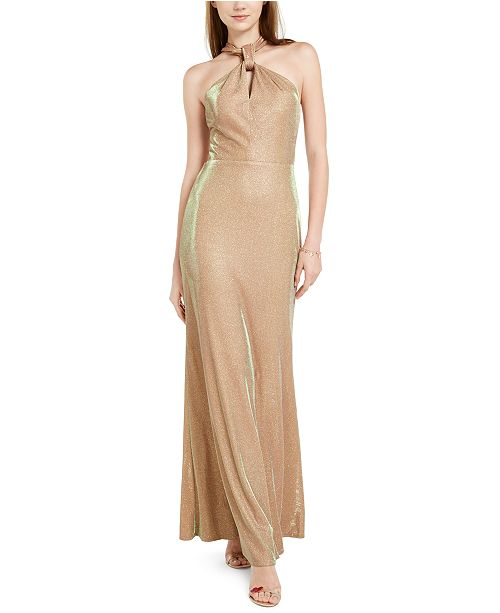 City Studios Juniors' Glitter Halter-Top Gown