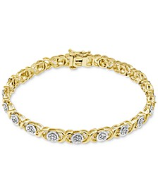 Diamond Link Bracelet (1/4 ct. t.w.) in Sterling Silver or 14k Yellow Gold Over Sterling Silver