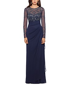 Petite Illusion Lace Gown